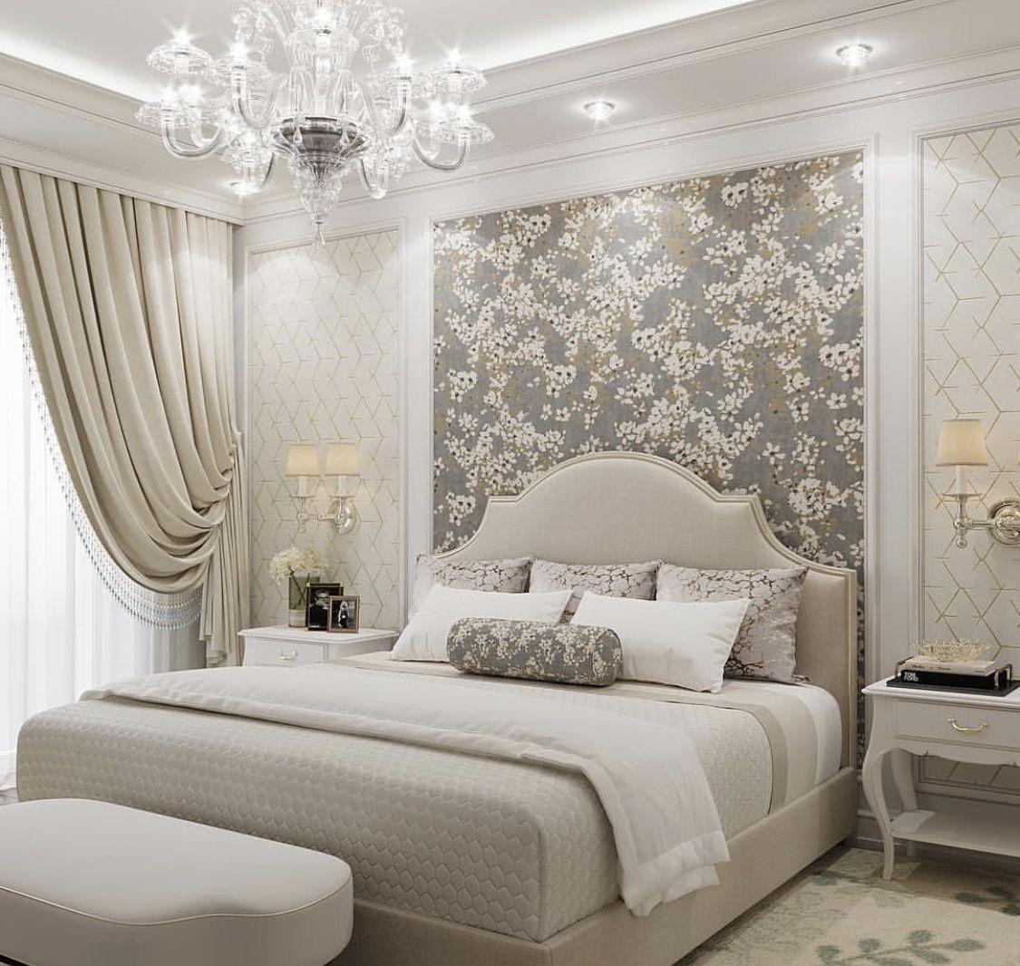 Light bright beige bed, cream bed, classy bedroom, elegant bedroom
