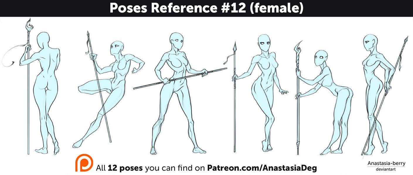 Poses Reference #12 (female) by Anastasia-berry | Female Tuturiols ...