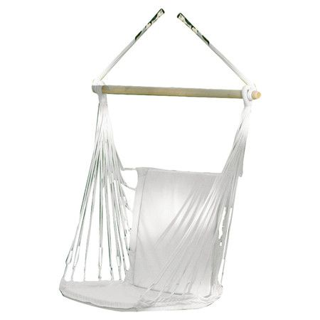 Showcasing a woven design and crisp white finish, this lovely swing chair is perfect for relaxing in the garden or by a sunny bay window.  ...