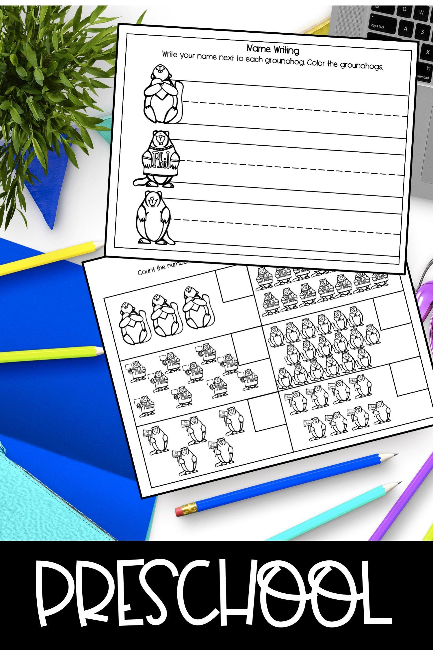 Groundhog Day Preschool Packet