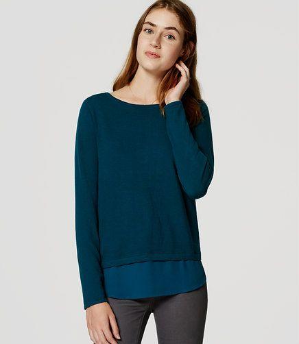 Image of Mixed Media Shirttail Sweater  e03cbd156ad2