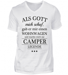 V Neck Herrenshirt Spruch Spruche Camper Camping Campen Tshirt