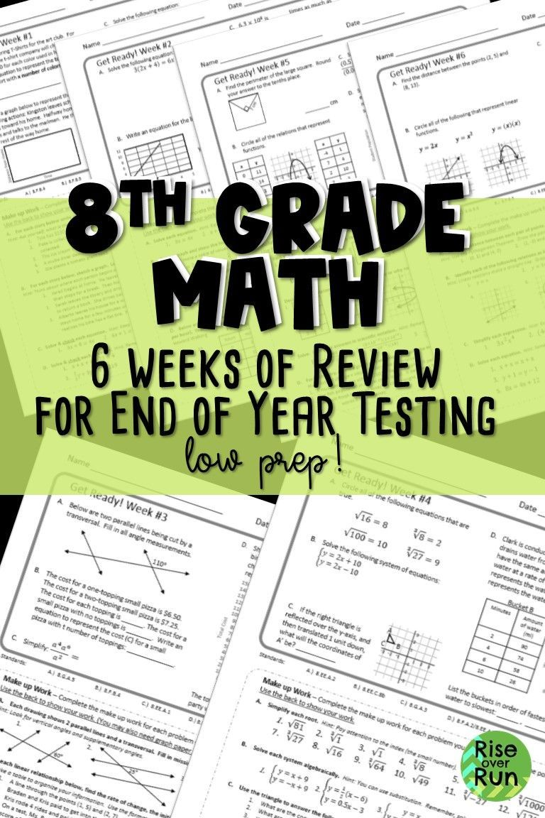Prepare For 8th Grade Math End Of Year Testing 6 Weeks Of Review With Options For Differentiation This Is 8th Grade Math Math Lessons 8th Grade Math Problems [ 1152 x 768 Pixel ]
