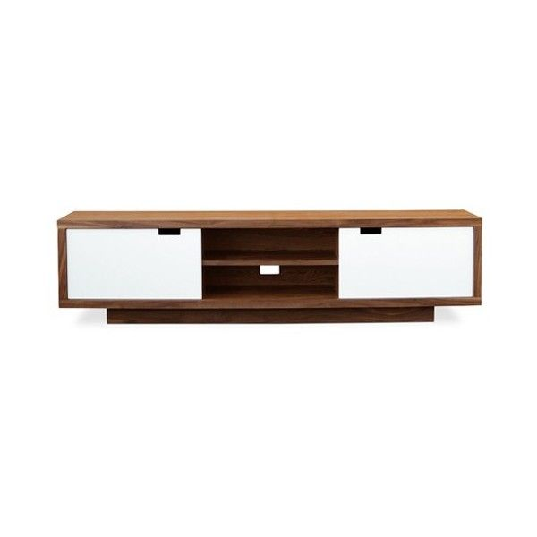 Gus Modern Wilson Media Stand ($1,450) ❤ liked on Polyvore featuring home, furniture, storage & shelves, entertainment units, white lacquer media cabinet, walnut furniture, white lacquer furniture, home storage furniture and white tv stand