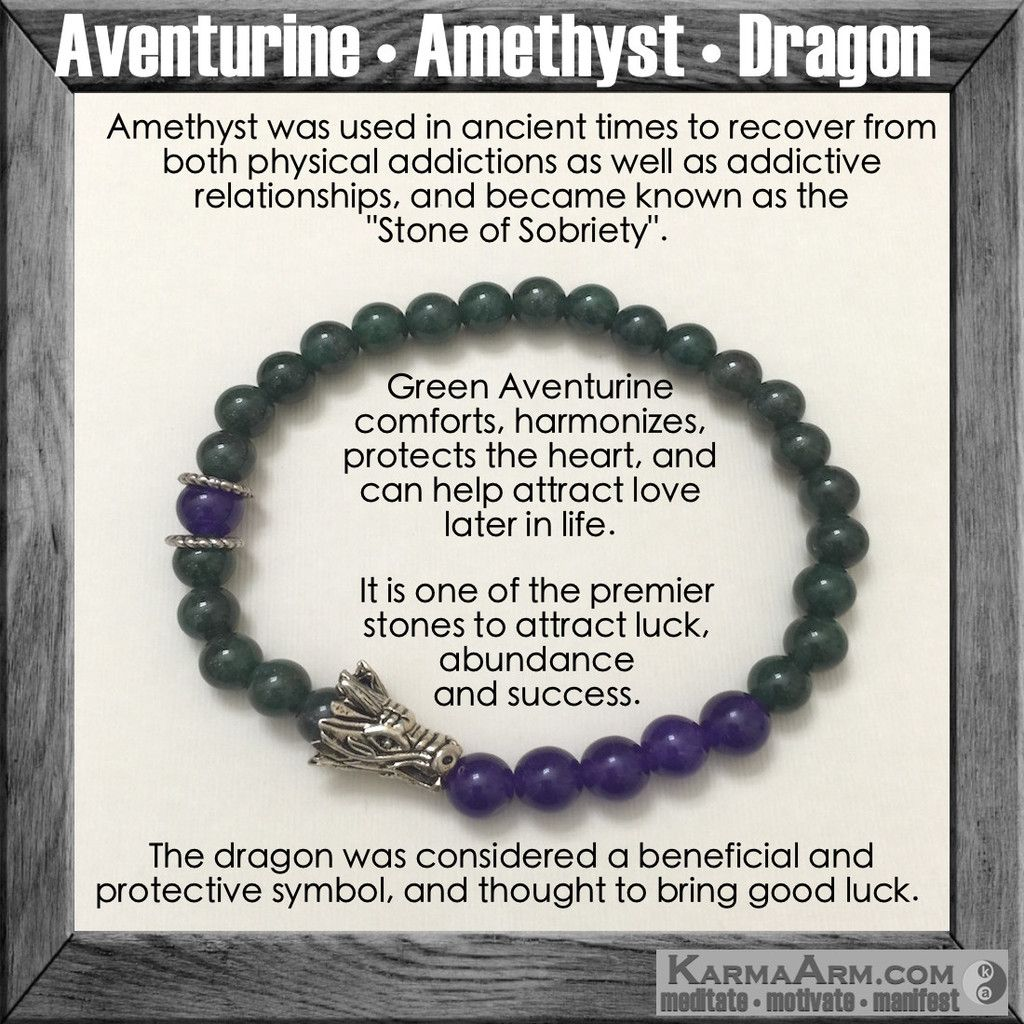 Attract success aventurine amethyst yoga chakra bracelet the dragon is a symbol of masculine energy and fertility love yoga biocorpaavc Gallery