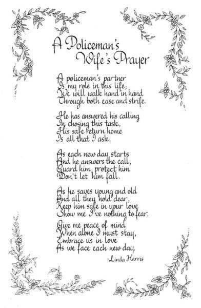poem by linda harris quota policemans wifes prayer