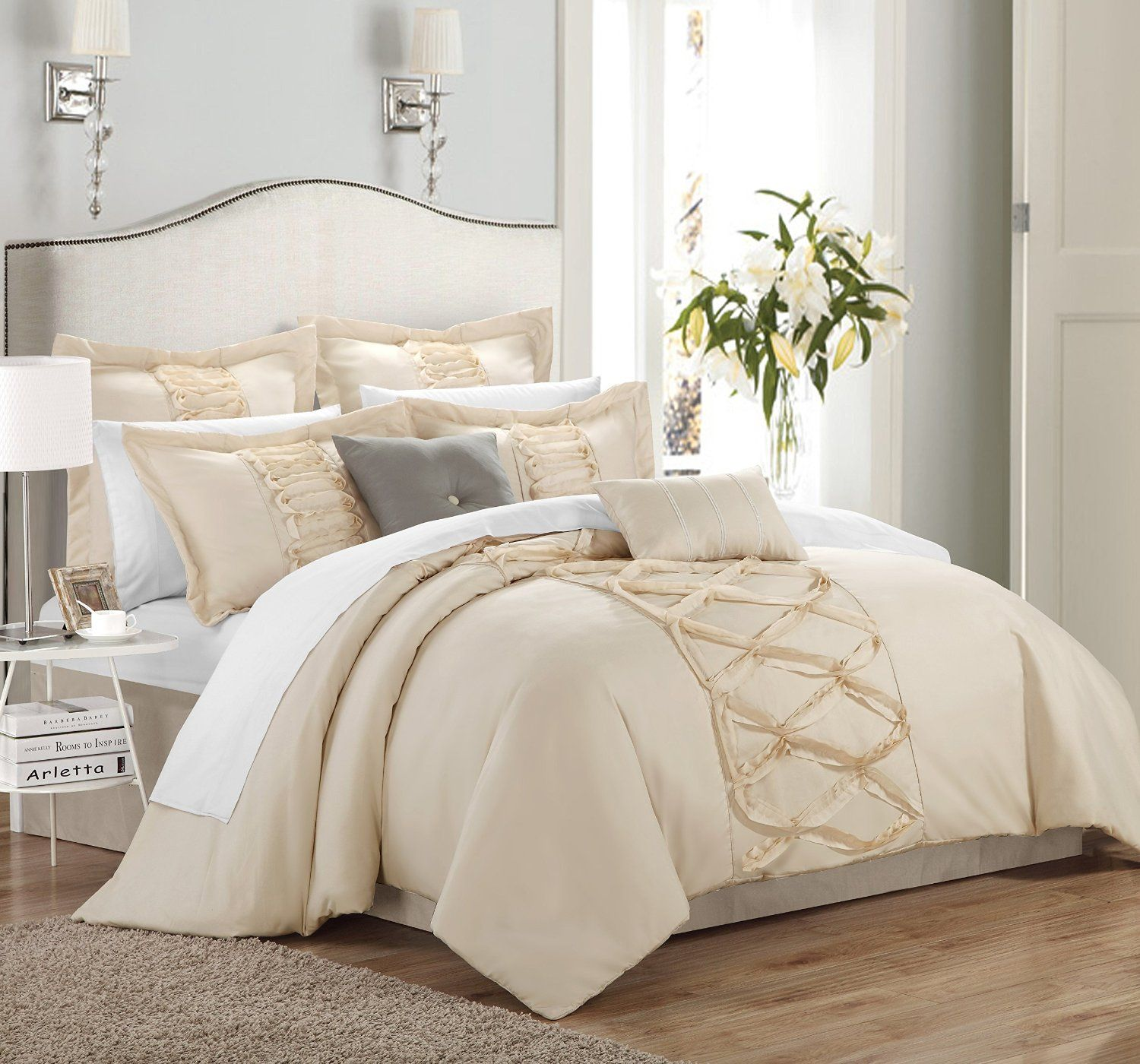 Amazon Chic Home 8 Piece Ruth Ruffled forter Set Queen