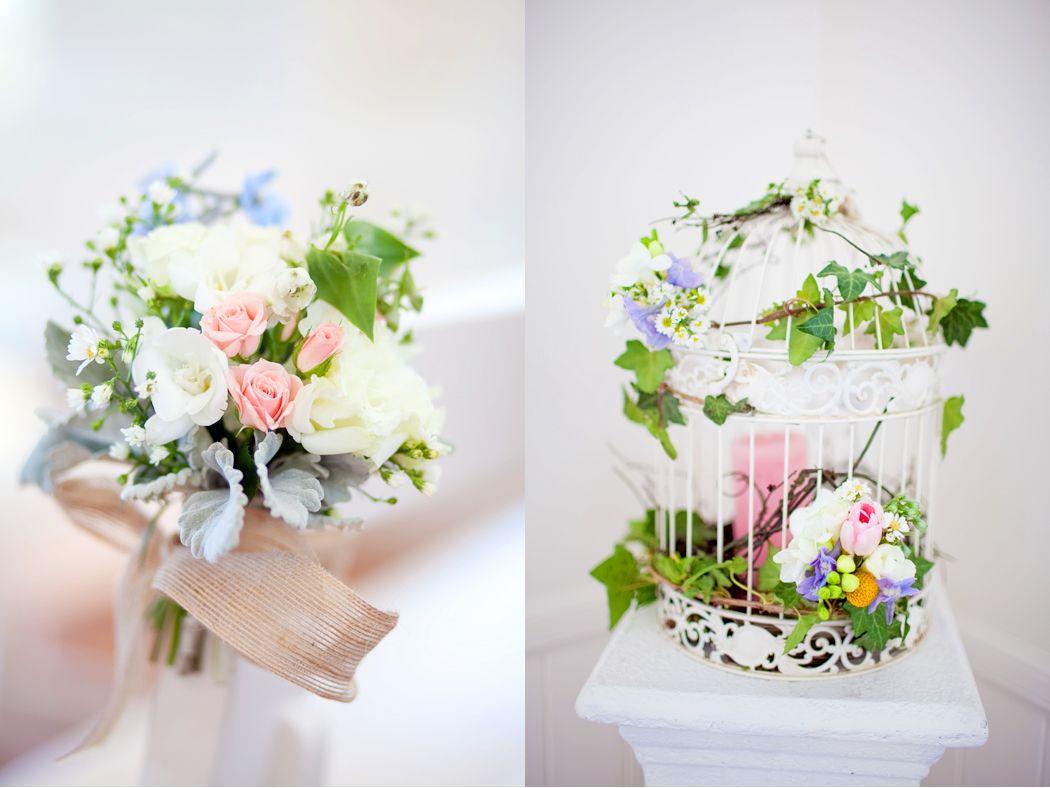 Pretty pews posies & bird cage arrangement designed by Tiffany\'s ...