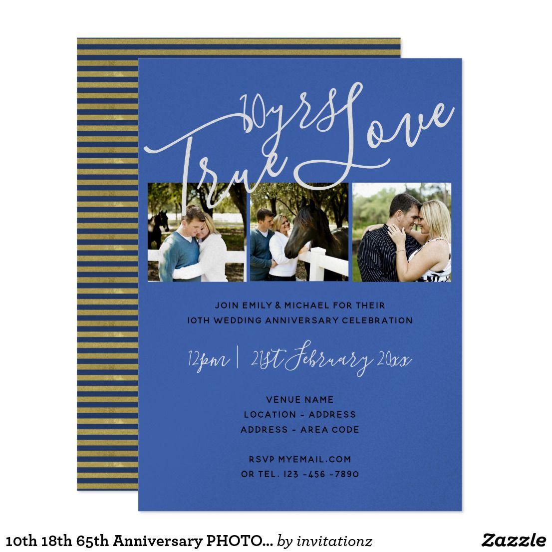 10th 18th 65th Anniversary PHOTO Invitation BLUE Blue