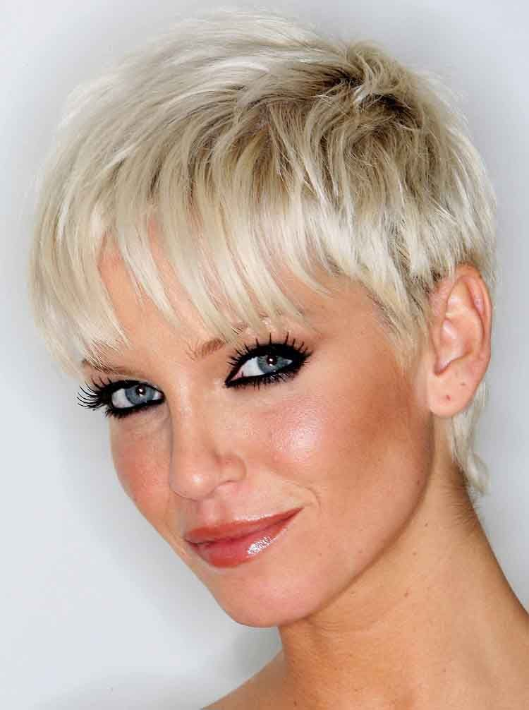Woman With Very Short Platinum Blonde Highlights Short