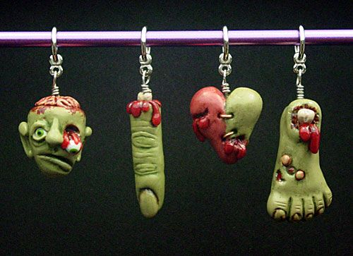 halloween decorations from polymer clay stitch markers inspired by shadowbox pottery