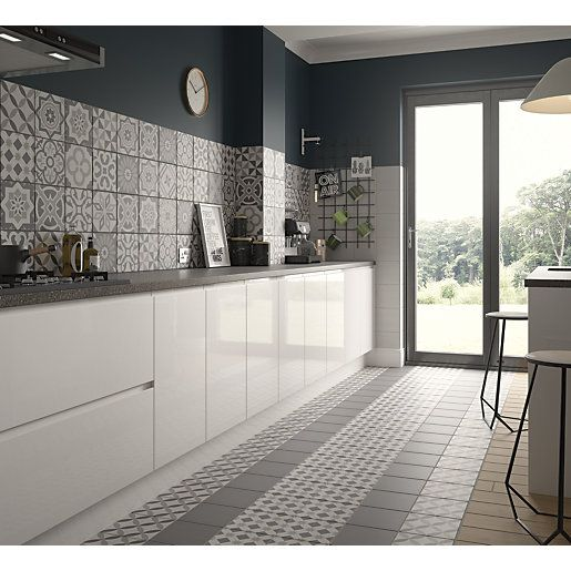 Wickes Winchester Patchwork Grey Ceramic Tile 200 X 200mm Bathroom