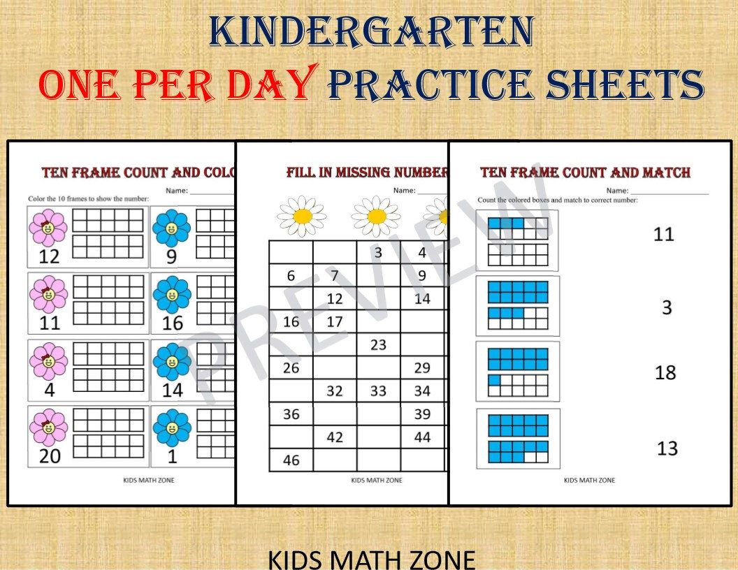 Kindergarten Math Bundle One Per Day 70 Worksheets