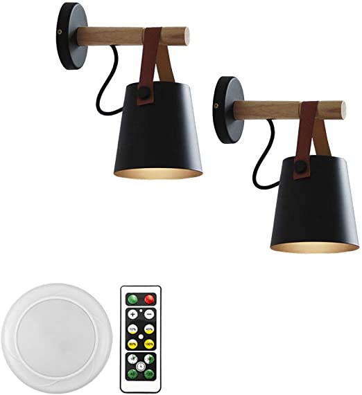 Amazon Com Anye 2 Pack 55 Lumens Led Remote Control Battery Operated Indoor Wireless Black Wall S In 2020 Sconce Light Fixtures Wall Sconce Lighting Black Wall Sconce