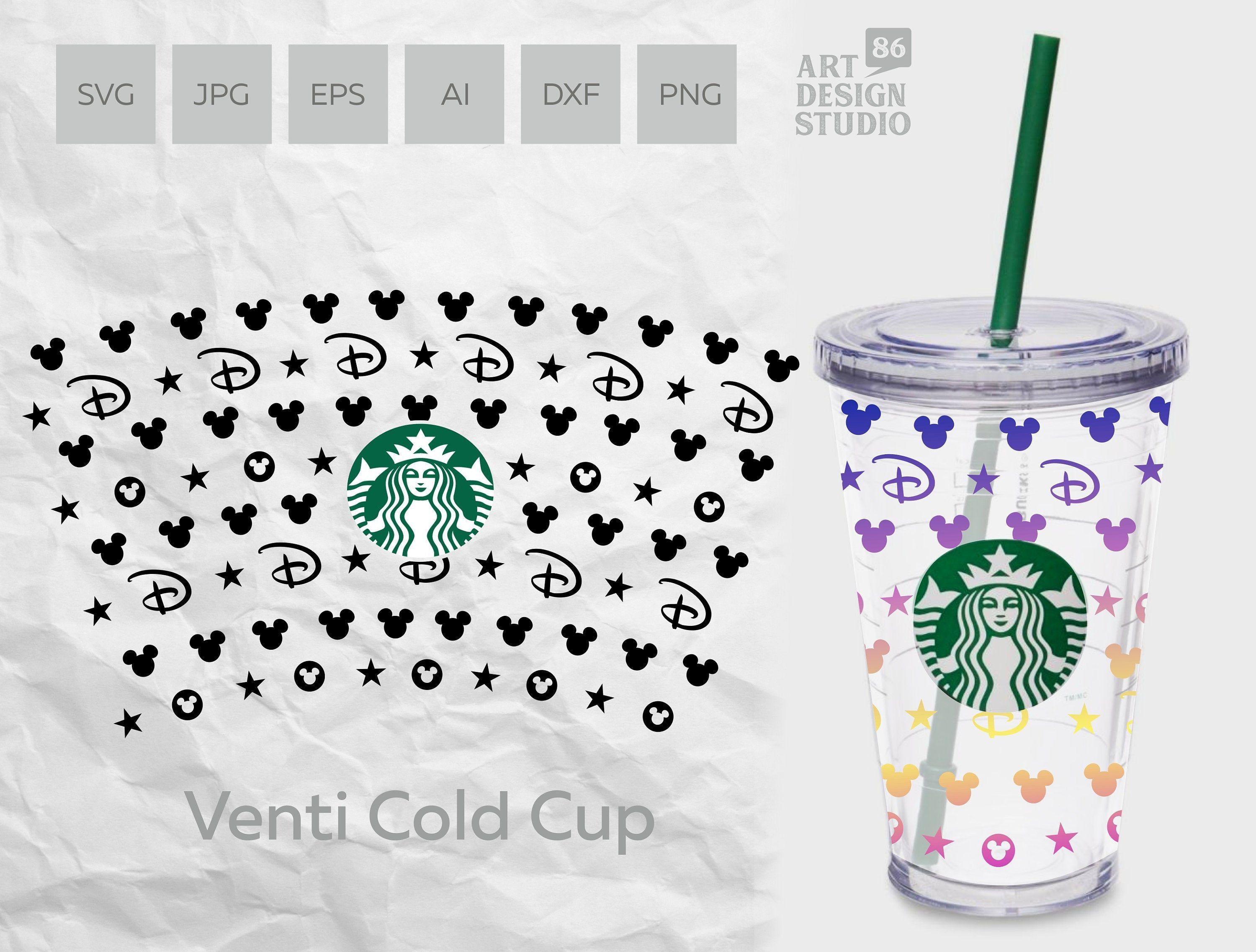 Seamless Disney Lv Inspired Pattern Full Wrap Template For Etsy In 2020 Starbucks Crafts Silhouette Diy Diy Cups