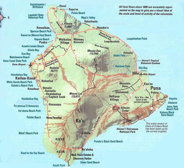 Big Island Beaches: Hawaii Island, Island Map