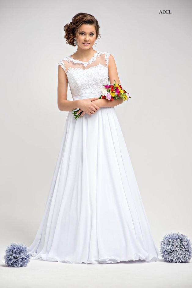 Brautkleid Adel mit Spitze A-Linie schlicht