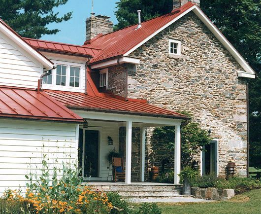 Red roof and stone