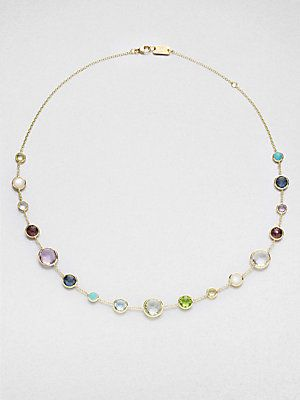 "IPPOLITA Multi Gemstone and 18K Yellow Gold Necklace 16""-18"" long beautifull <32495<3"