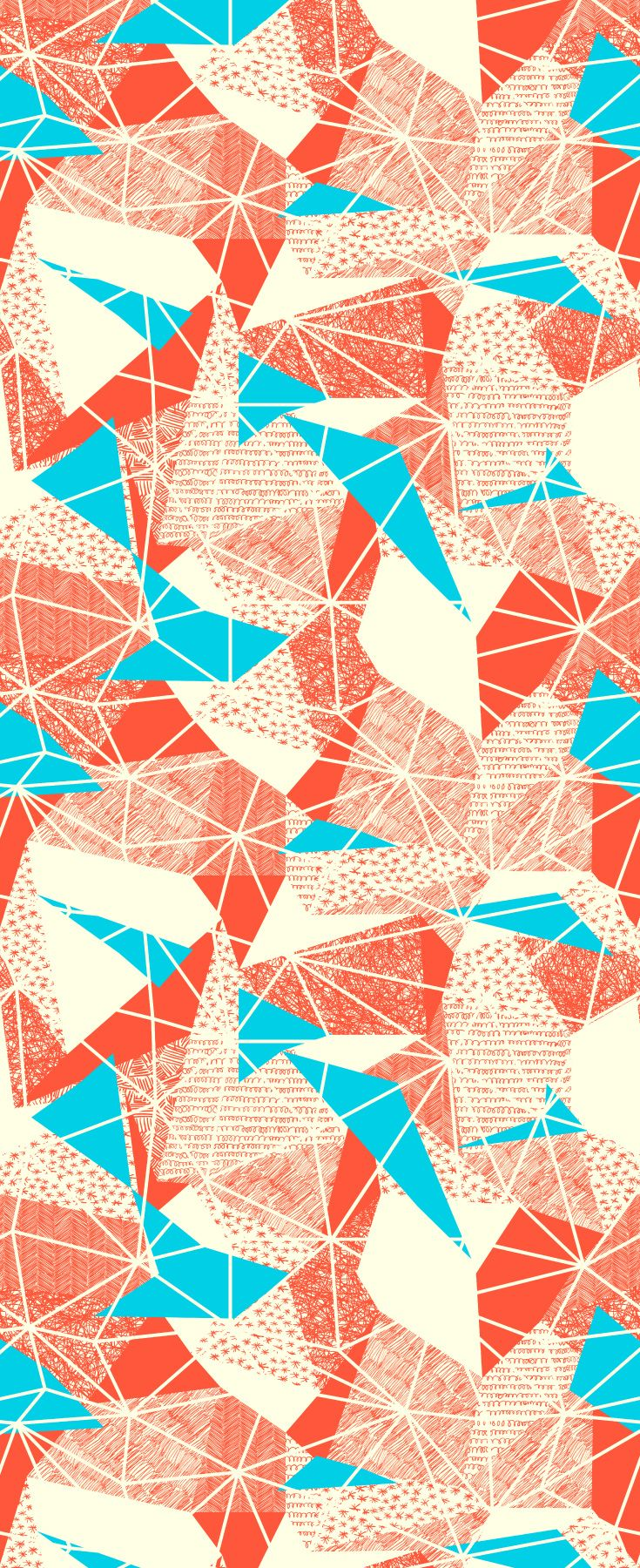 Retro inspired cyan triangles geometric wallpaper pattern