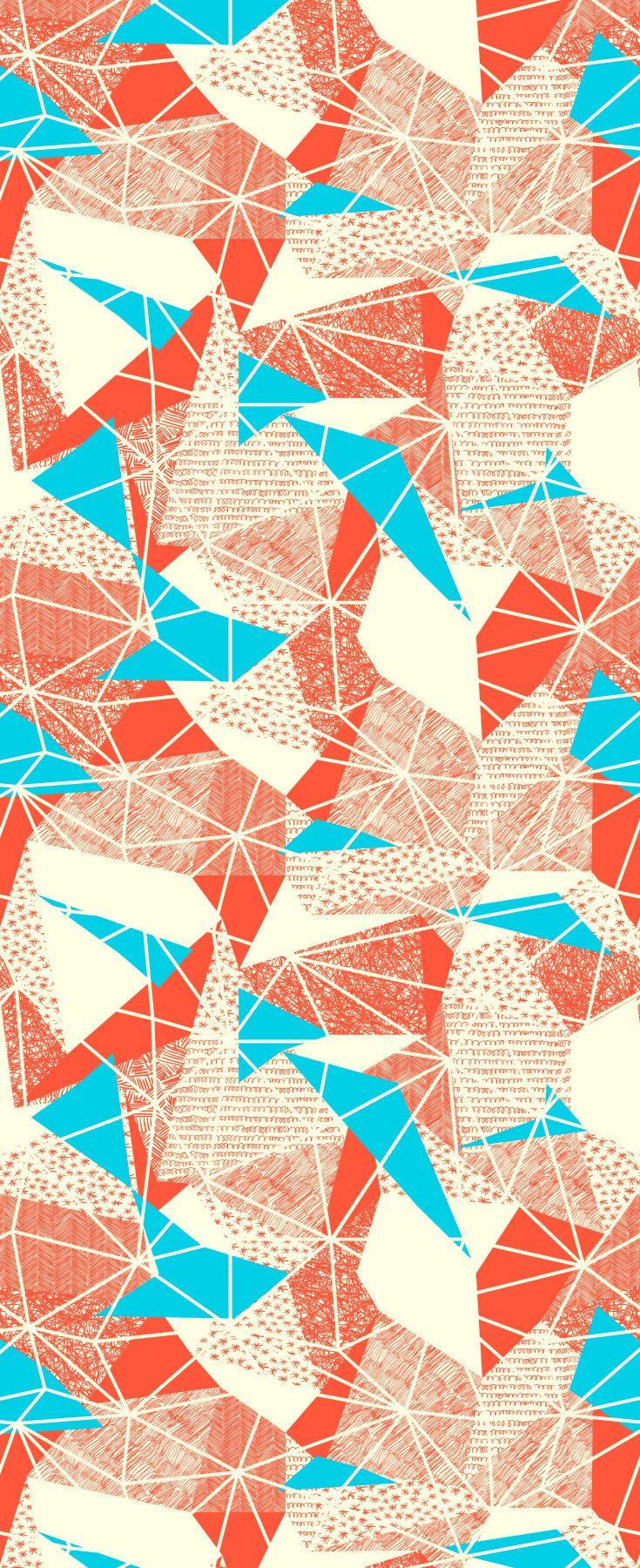 Retro inspired cyan triangles geometric wallpaper pattern