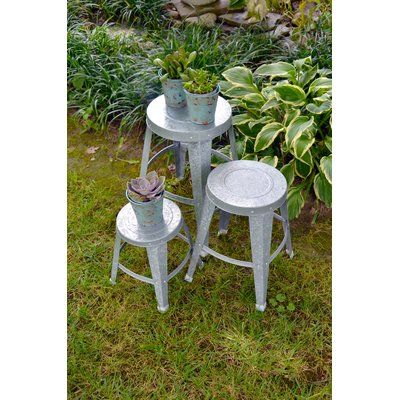 Rcs Gifts Galvanized 3 Piece Plant Stand Set Plant Stands