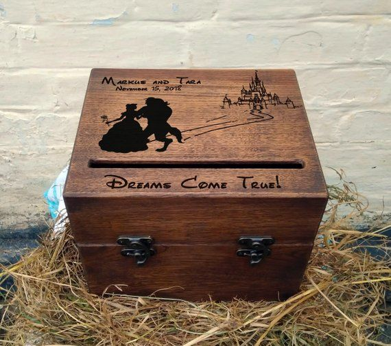 Beauty And The Beast Card Box Wedding Wood