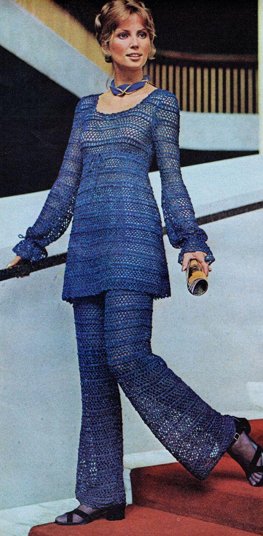 f42e7a59de52a Crochet Pant Suit Empire Waist Vintage Crochet PDF Pattern Bust 30.5-38  inches 70's Reproduction Instant Digital ePattern Download