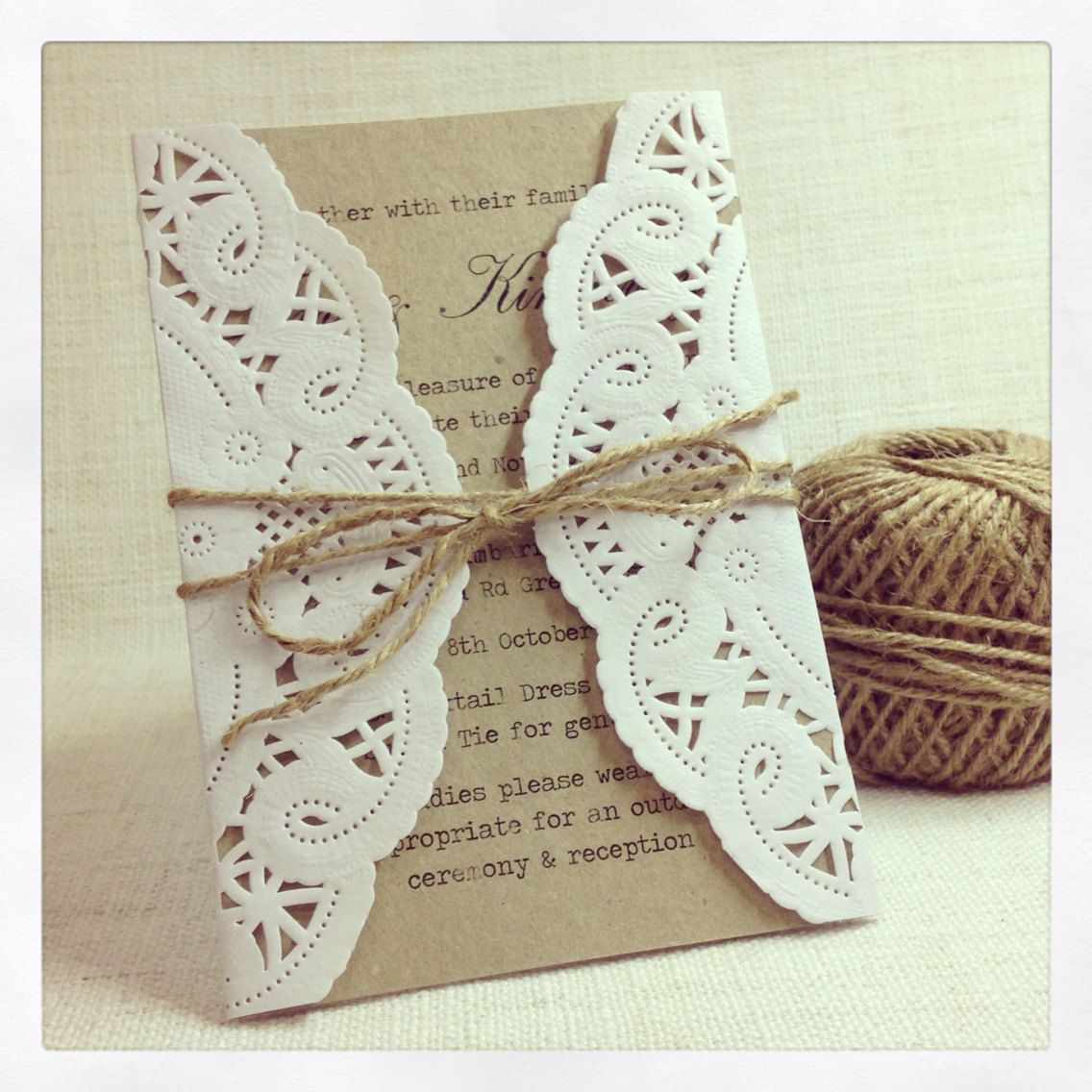Doily wedding invitation - rustic chic wedding invitation sample ...