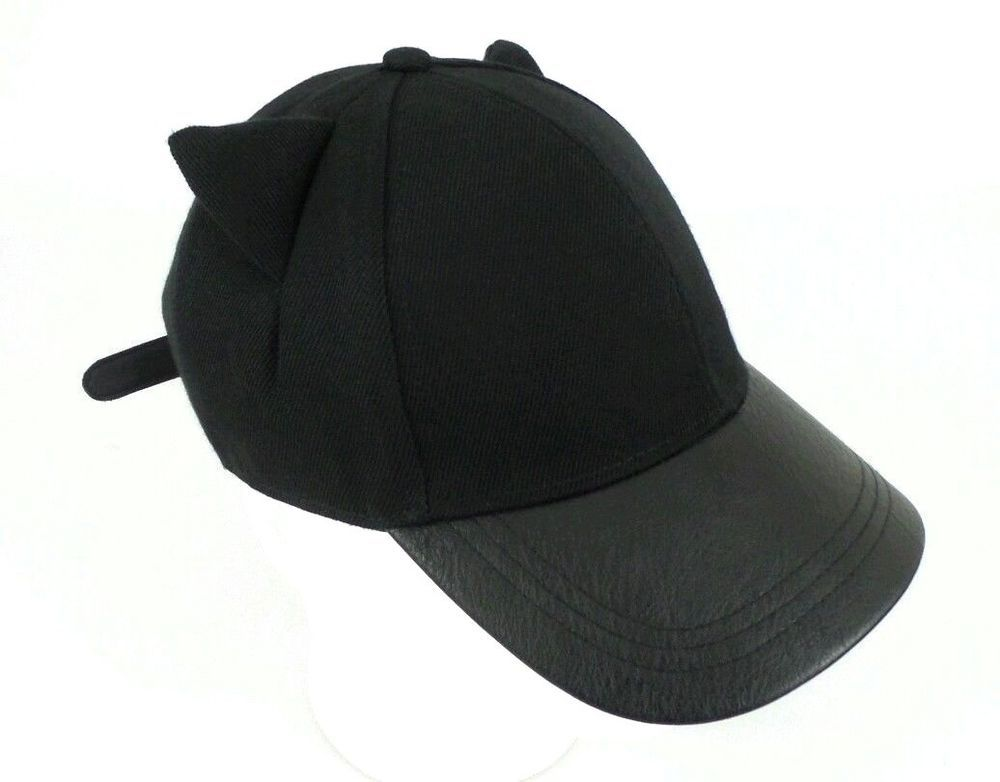 79712b76753f3 H M Divided Meow Black Coated   Faux Leather Brim Cat Ears Hat Unisex OSFM   HM  BaseballCap
