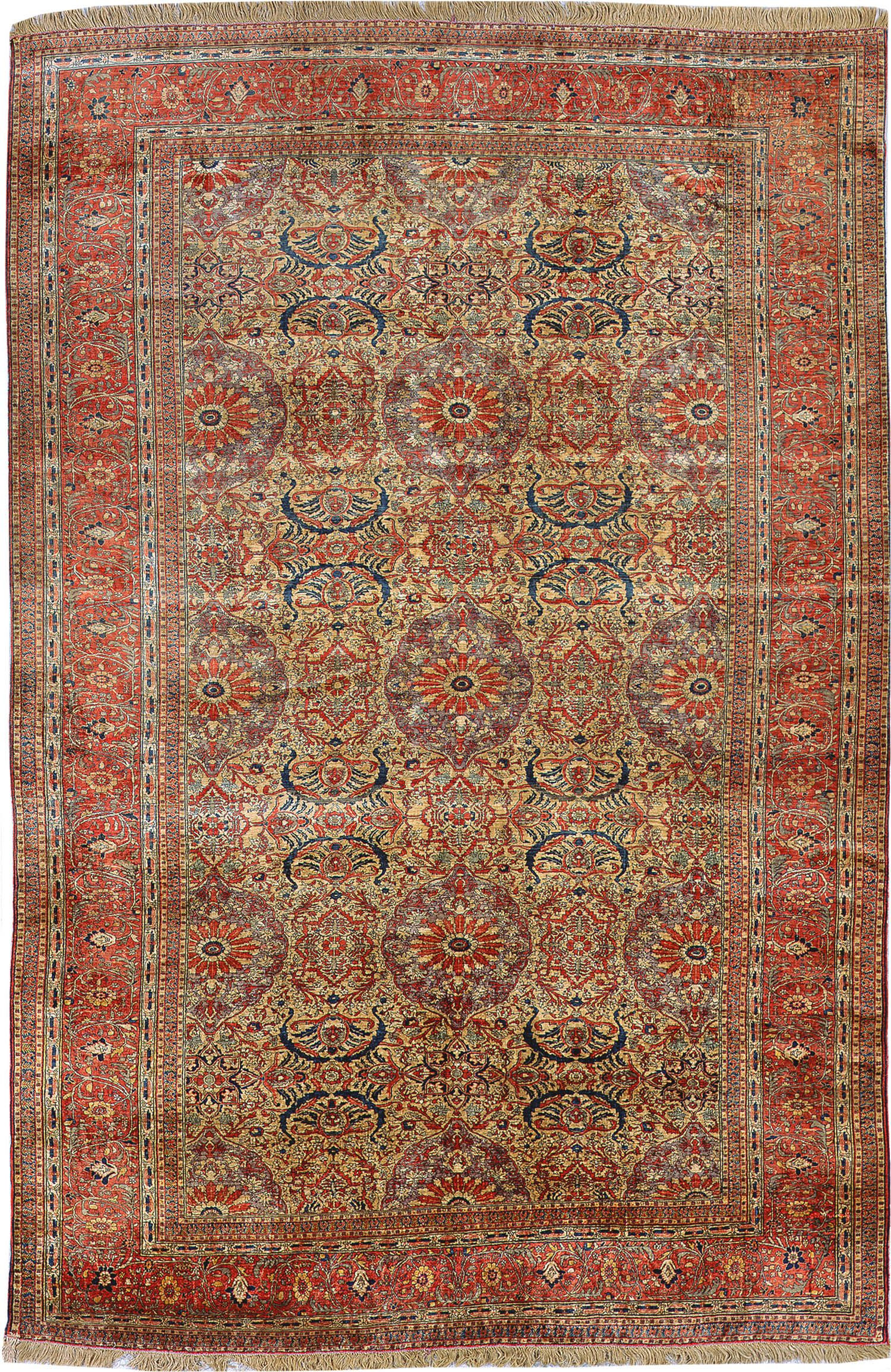 Fine Antique Persian Silk Heriz Rug 3087 Nazmiyal