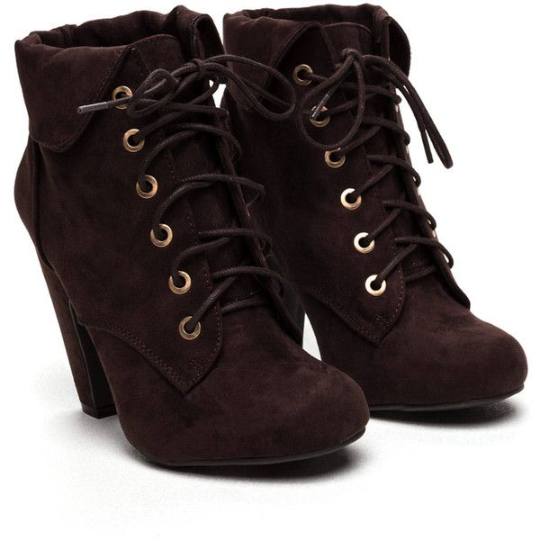 Off The Cuff Chunky Faux Suede Booties (€25) ❤ liked on Polyvore featuring shoes, boots, ankle booties, cuff boots, cuffed boots, faux suede booties, faux suede boots and chunky boots