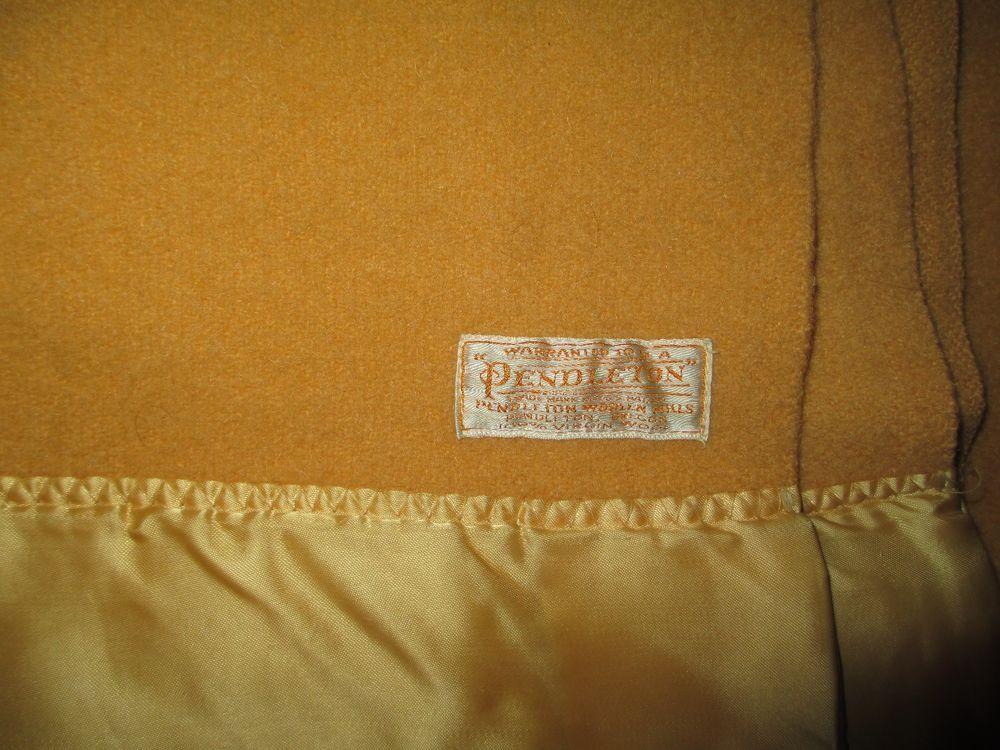 71b4863927 Pendleton 100% Wool Blanket Satin Binding Trim Yellow Vintage Twin ...