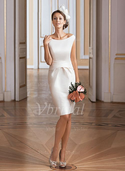 Photo of Brautkleider – $ 99.99 – Scheide / Säule Trägerloses knielanges Taft-Brautkleid mit Rücken …