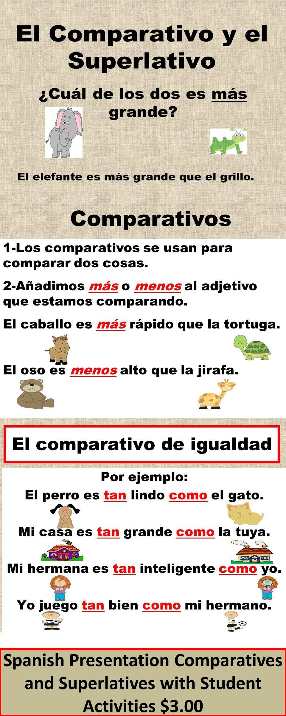Spanish Comparativo y Superlativo Presentation and Student ...