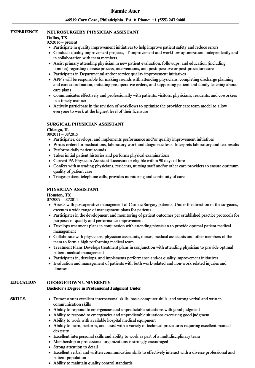 Physician assistant Jobs Nc Email resume cv 2019 Resume