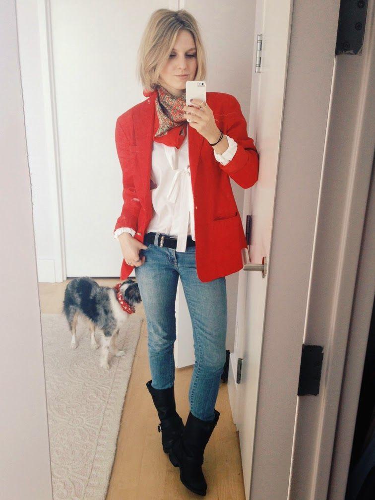Ralph Lauren oversized boyfriend blazer, Valentino white button-down shirt,  J Brand jeans