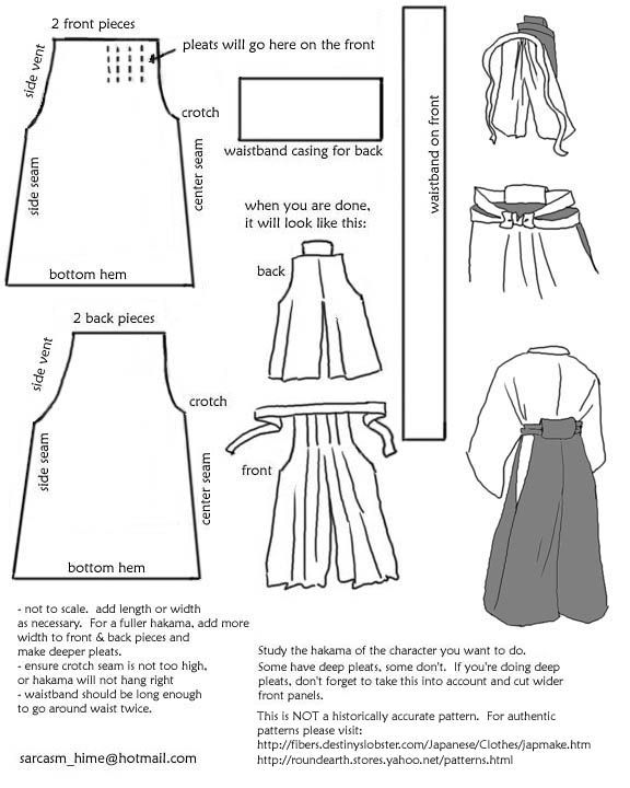 Drafting A Hakama Pattern: bushido pants. | Nähen | Pinterest ...