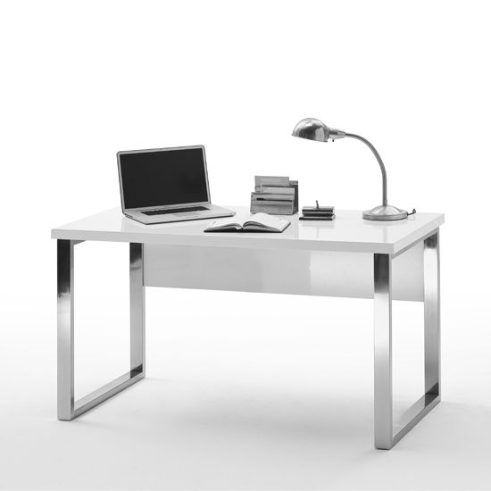Sydney Office Desk In High Gloss White And Chrome Frame Modern Home Office Furniture White Gloss Desk Office Desk