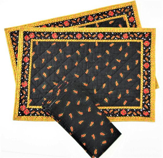 Pair Of Vintage French Valdrome Quilted Placemats With Matching Napkins,  Black Floral French Country Table