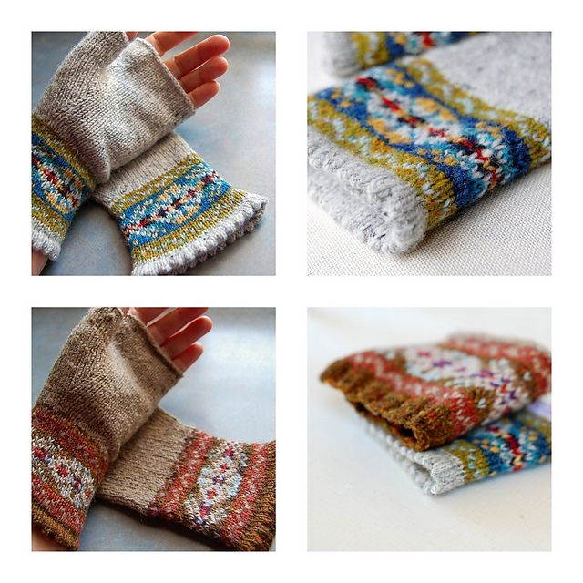 Grey Fair Isle Mitts pattern by Helen Gray Designs | Finger ...