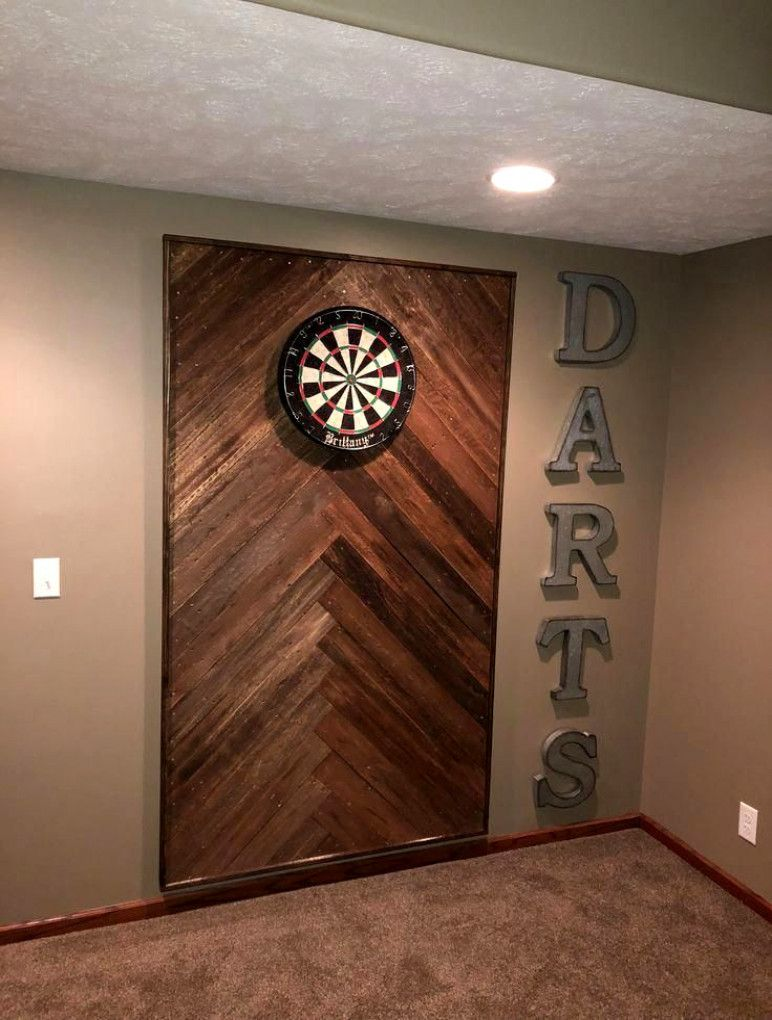 Wooden dart board wall #Homedecorapartment #BasementStairs #mancavebasement