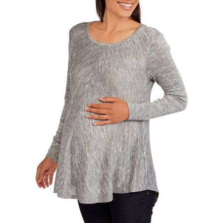 Faded Glory Maternity Long Sleeve Hacci Swing Top, Size: Small, Silver