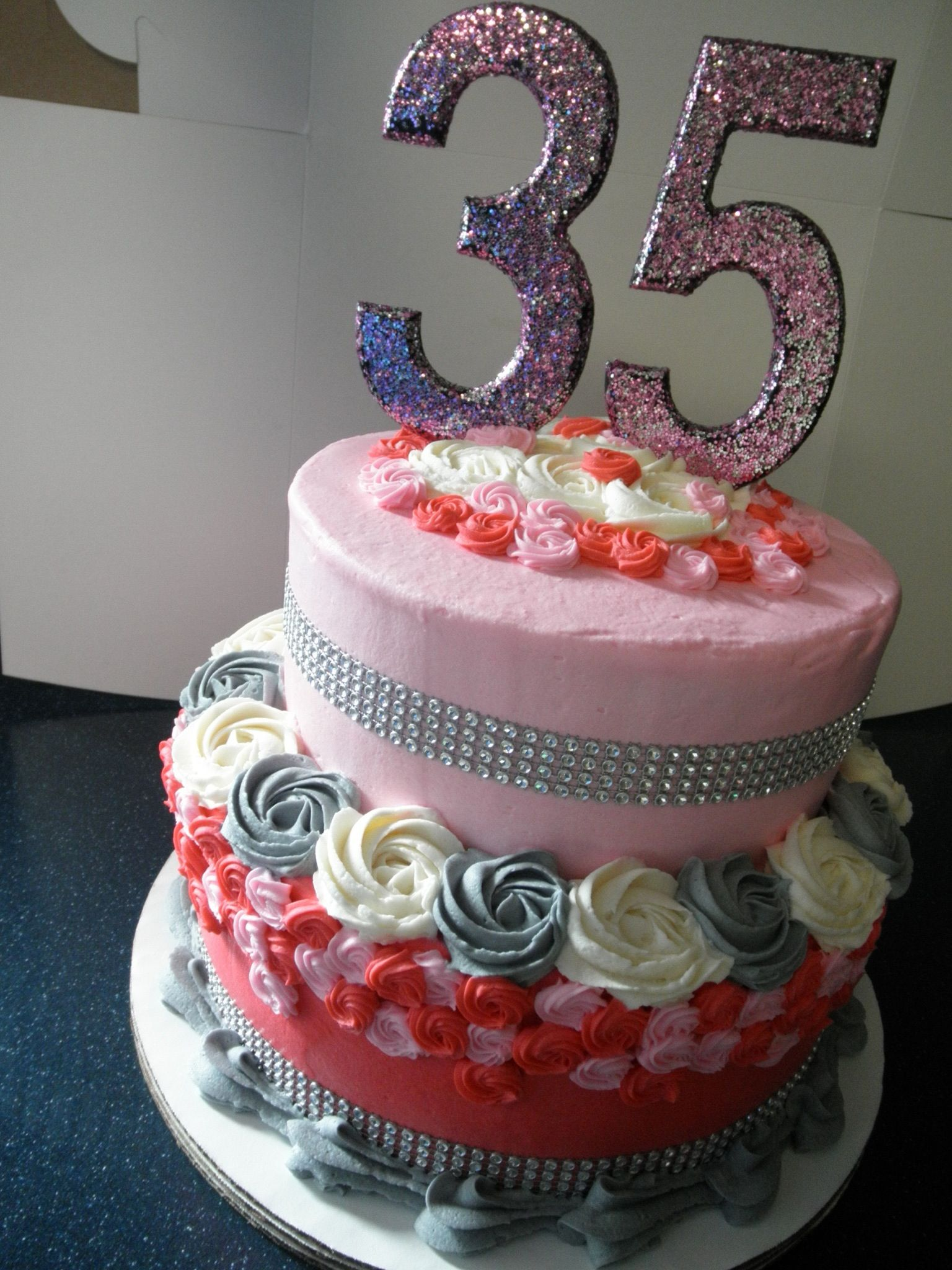 Glitz And Glam Sparkly Th Birthday Cake Wwwfacebookcom - 35th birthday cake ideas