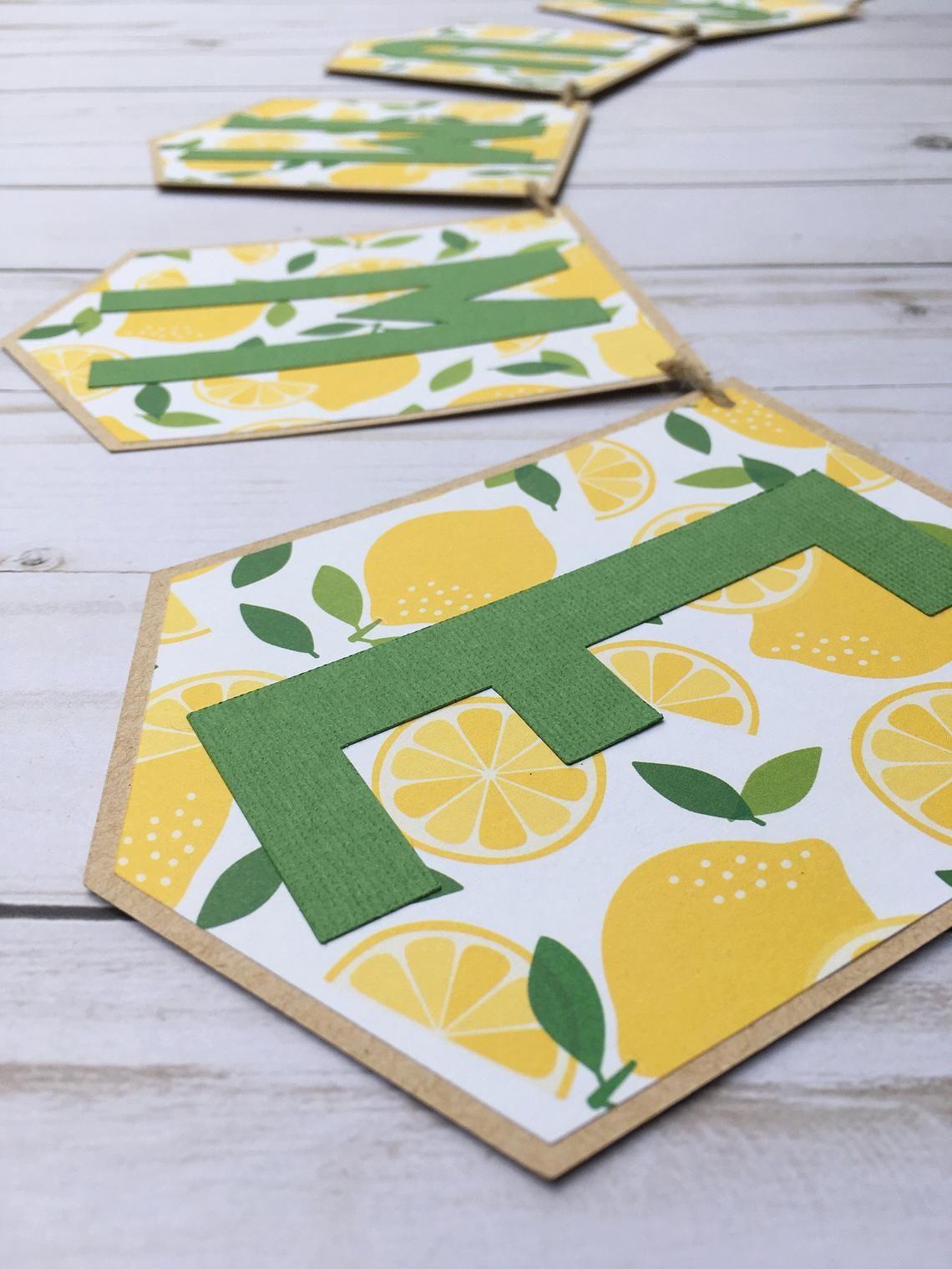 Summer Banner, Lemon Banner, Lemon Party Decor, Lemonade Party Banner, Lemon Smash Cake Banner, Summer Party Banner, Lemon Theme Sign #lemonade
