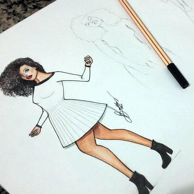 A inspiração de hoje é  a linda da @rayzanicacio ! A Ray tá numa pegada minimalista bem forte, um dos meus estilos favoritos no momento ♡ esse é  o primeiro  dos três looks que apresentarei aqui! ♡♡ #minimal #ootd #nigga #sketchbook #myfashionscketingbook #fab #basic #white #afrohair #intimasdaray #rayza #style #fashionaddicted #brazilianartist #slay #fashionartist