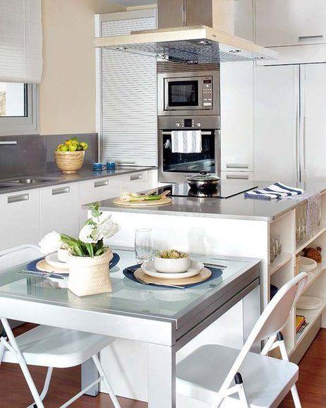 Cocina con isla y office de 15,75 m² | Comedor de diario, Luz ...