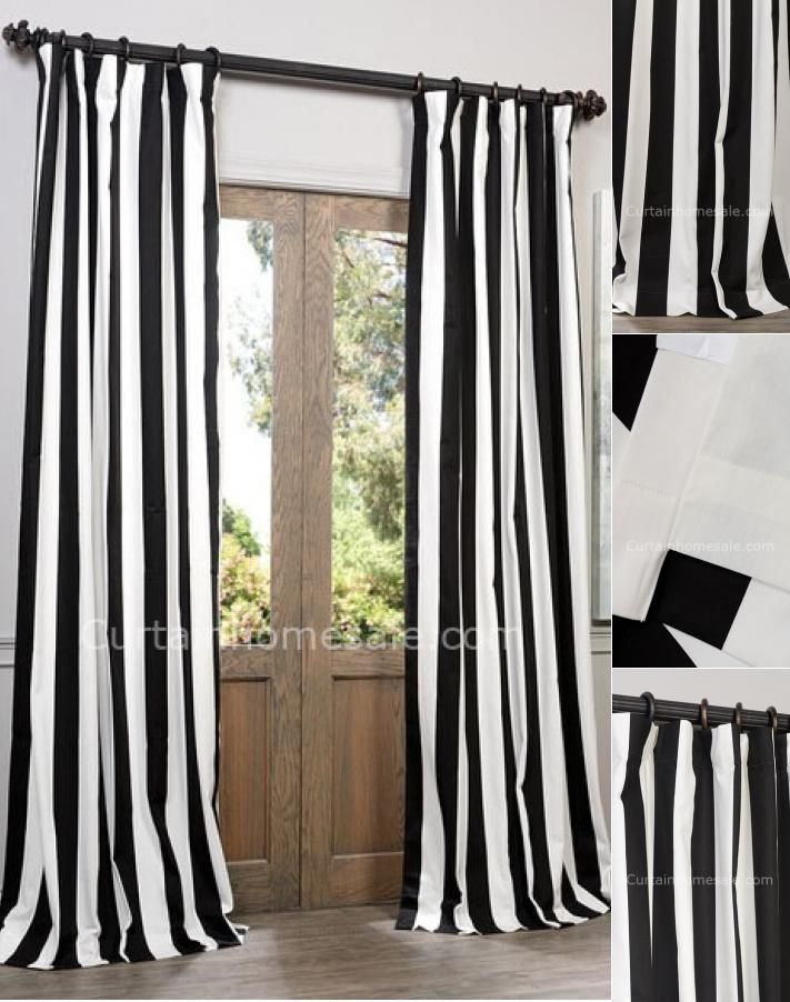 Casual Black And White Striped Curtains Free Shipping Black White Curtains Striped Curtains White Cotton Curtains