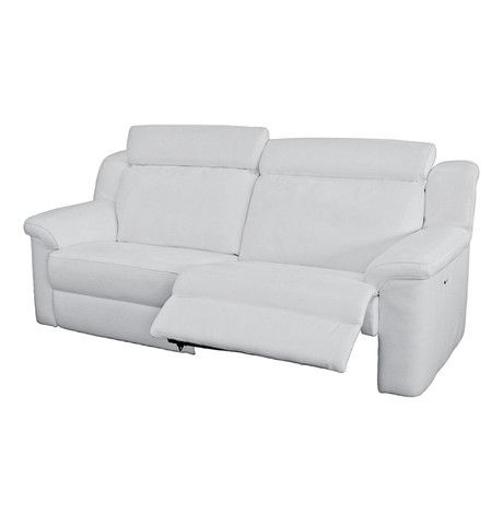 Milan 3rere Electric Recliner Sofa White Tsa Leather White Leather Couch White Leather Furniture Lounge Suites