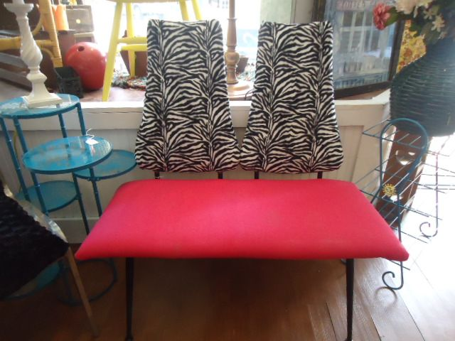 Pink And Zebra Print Chair Bench At ReHab Fab In Van Wert, Ohio